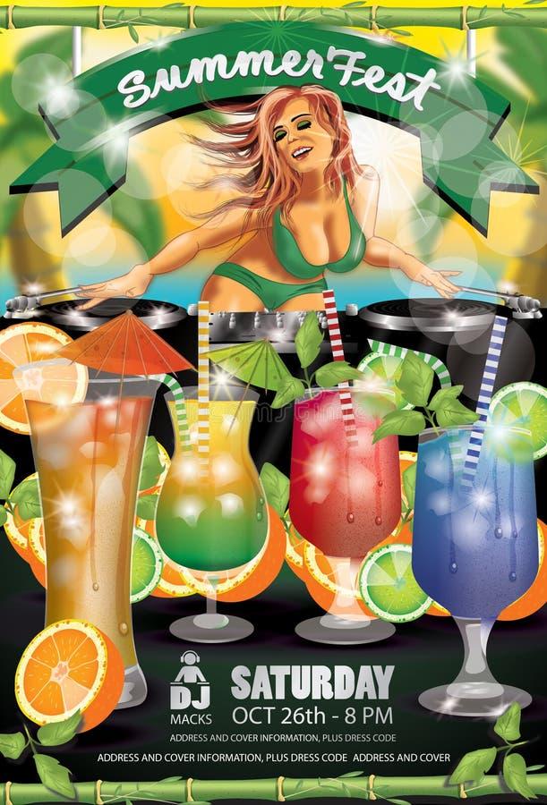 Summer Fest Green Flyer stock photos