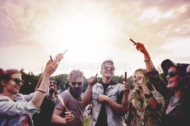 Summer festival. Best friends celebrating together summer festival stock image