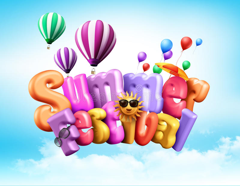 Summer Festival Design Illustration with Unique Colorful 3D Rendered. Text with Elements Flying in the Sky Above Clouds vector illustration
