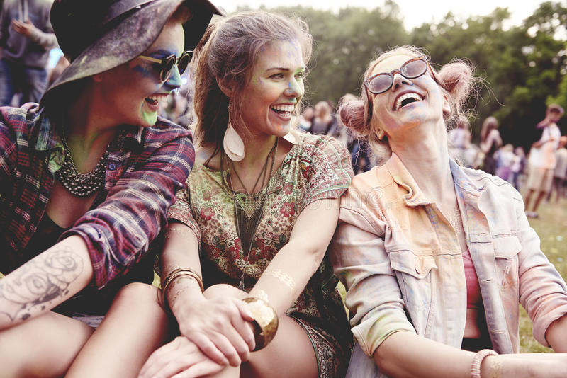 Summer festival. Happy girls at the summer festival royalty free stock photo