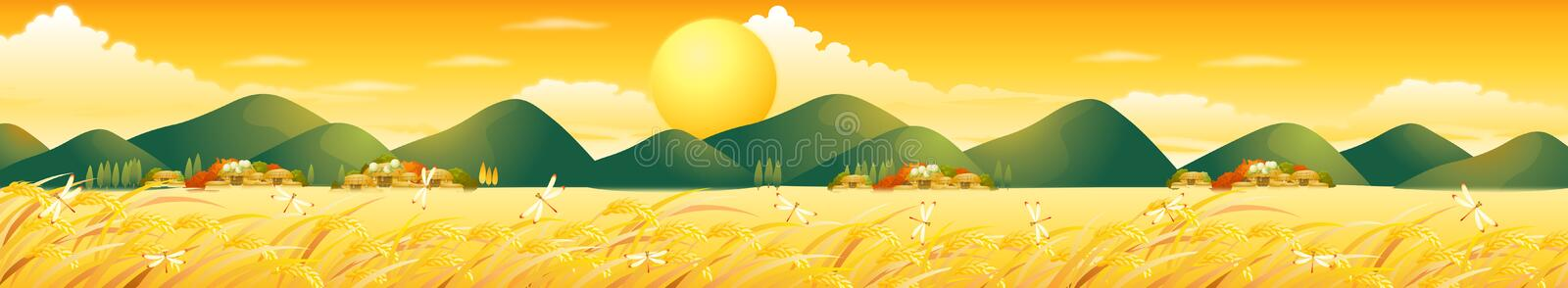 Summer Field With Houses Hills Big Sun Graines and DragonFly royalty free stock images