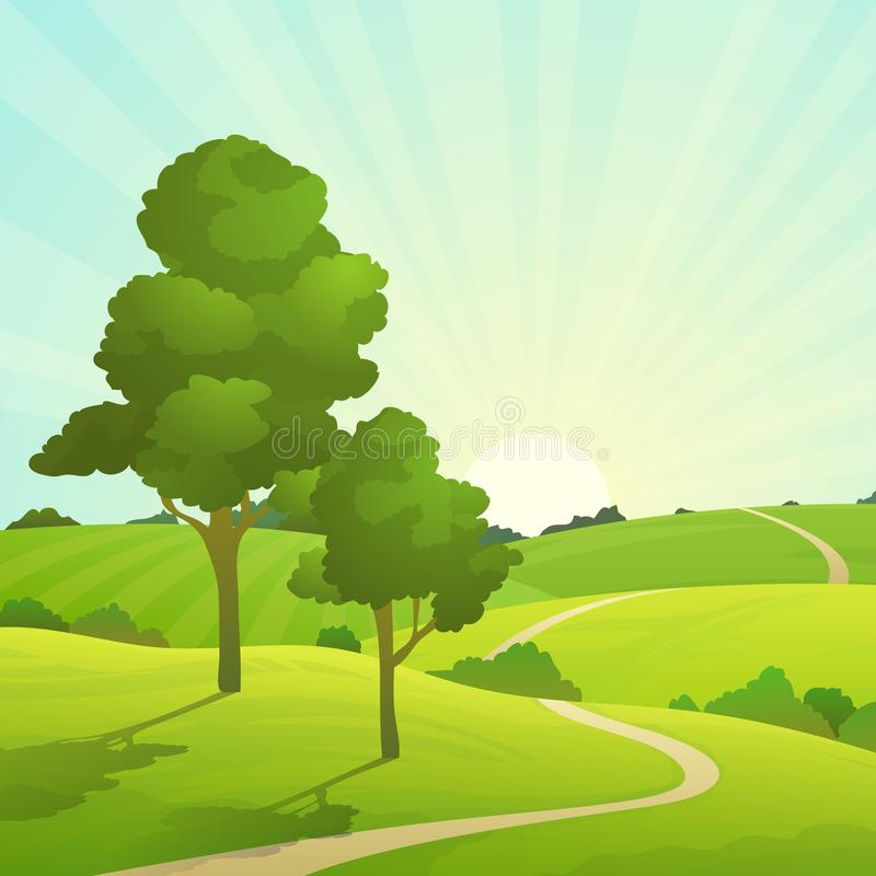 Summer field landscape. Nature hills fields blue sky clouds sun countryside. Green tree and grass rural land royalty free illustration