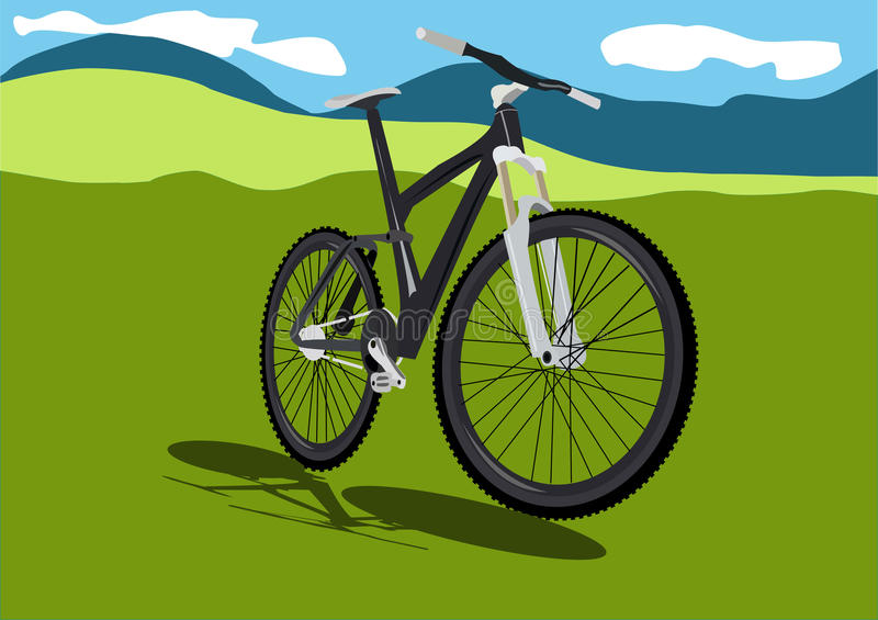 Summer field with realistic bicycle vector illustration