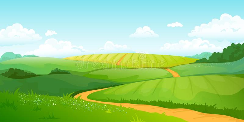 Summer fields landscape. Cartoon countryside valley with green hills blue sky and curly clouds. Vector rural nature view royalty free illustration