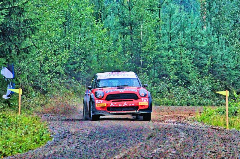 Neste Rally Finland. Summer in Finland, fast gravel roads and qiuck drivers, having tough competition stock images