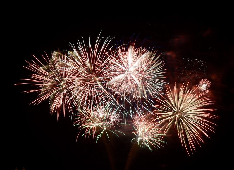Summer Fireworks. This is a Summer picture of part of a fireworks display over Lake Michigan at Navy Pier located in a Chicago, Illinois. This picture was taken stock photos