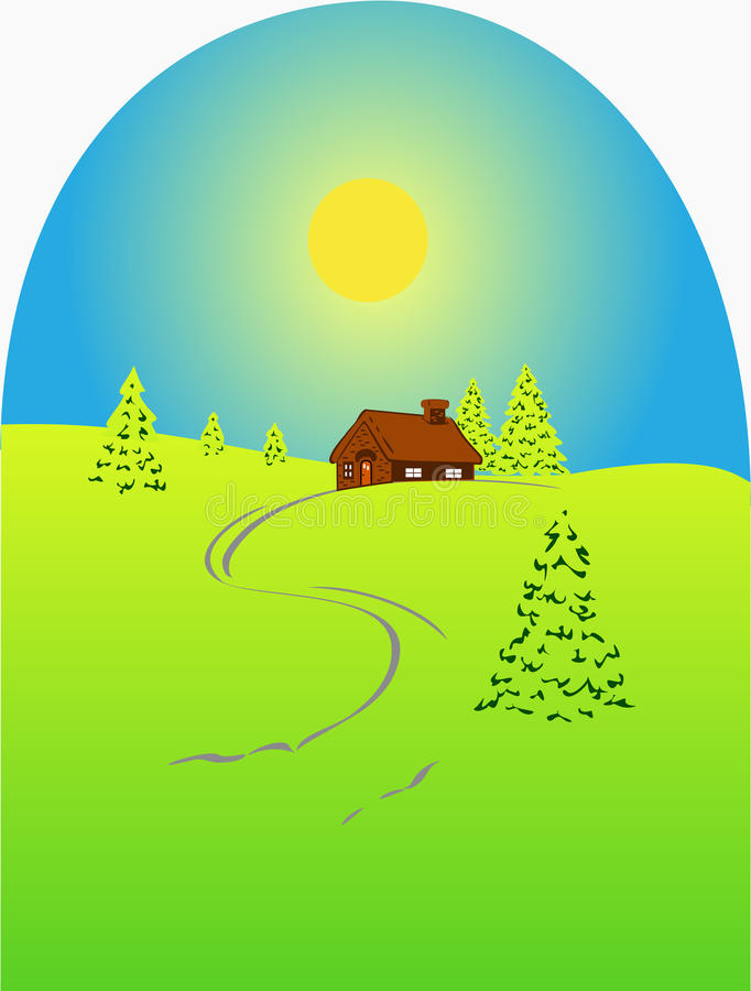 Download Summer Firs And House Stock Photos - Image: 20016963