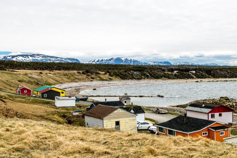 Summer fishing village on Green Point, Grose Morne National Park stock images