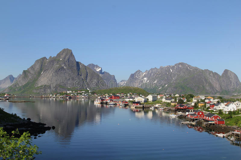 Summer on the fjord of Reine in Lofoten royalty free stock images