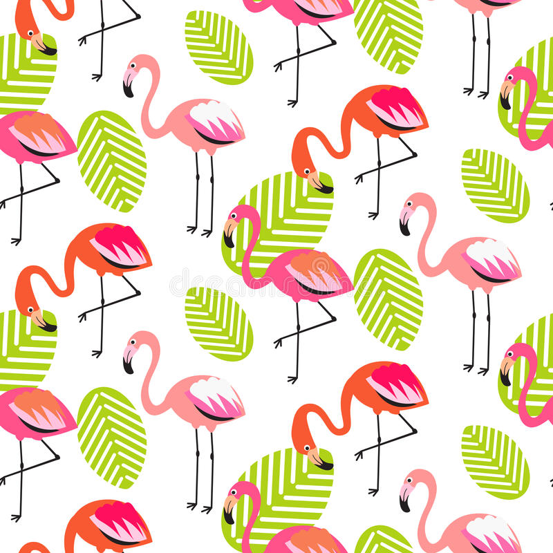 Summer flamingo and leaves seamless pattern. royalty free illustration