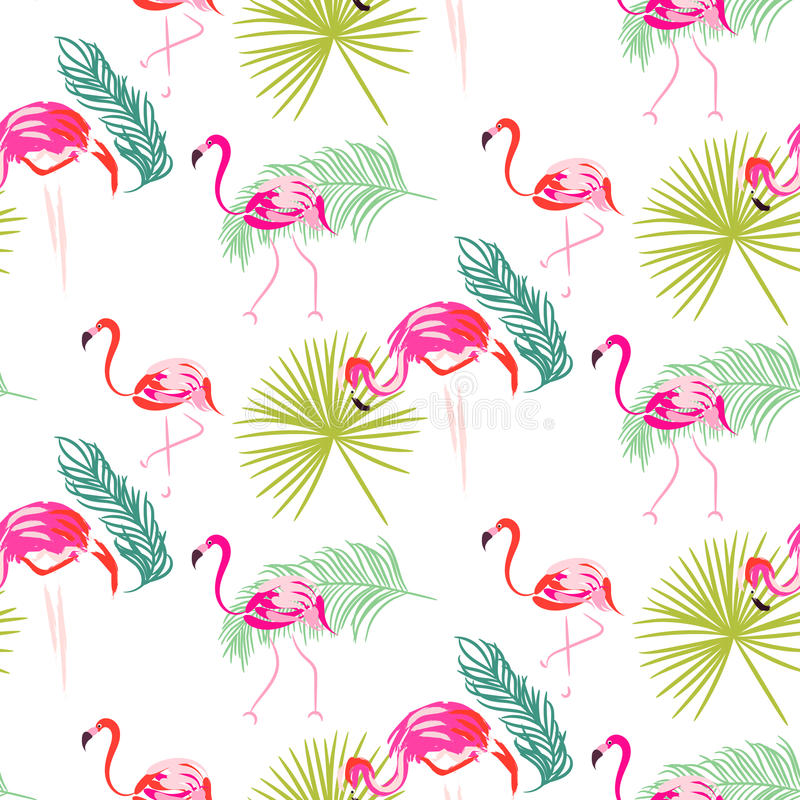 Summer flamingo and palm tropic branches seamless pattern. royalty free illustration