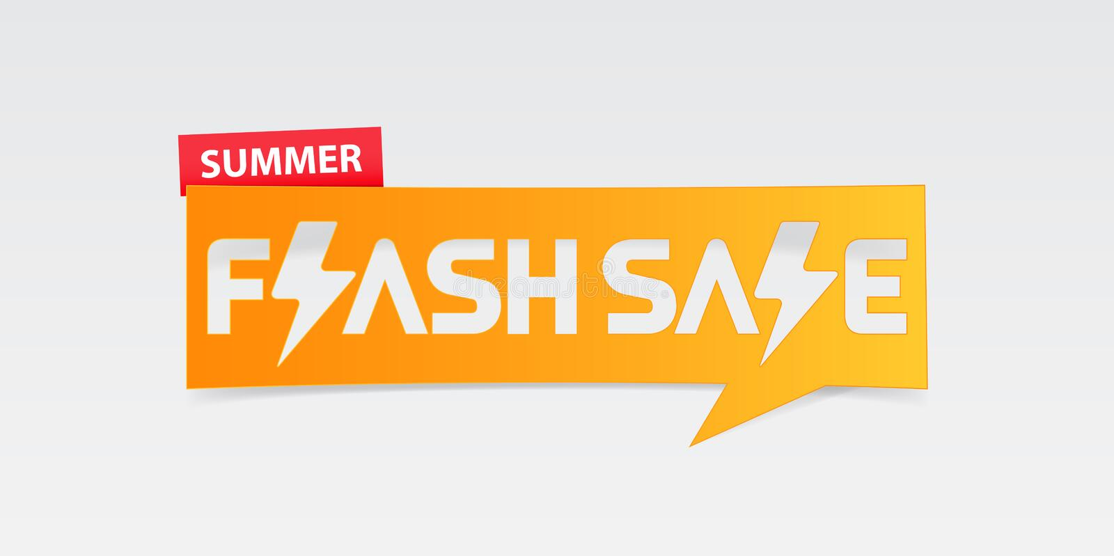Summer flash sale banner template design. Special offer poster for summer season. Summer flash sale typography with thunder icon. vector illustration