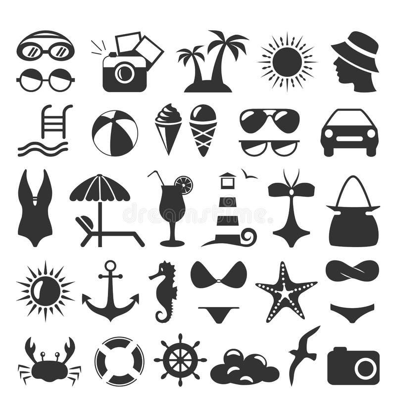 Summer flat icons set on white royalty free illustration