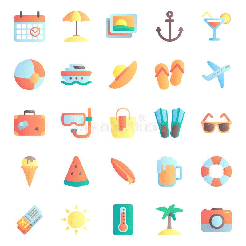 Summer flat icons. Summertime vacation, beach umbrella and sunglasses. Hot sun icon vector illustration set vector illustration