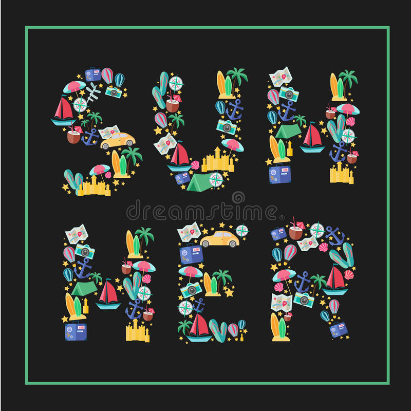 Summer.Flat Illustration with typographic stock images