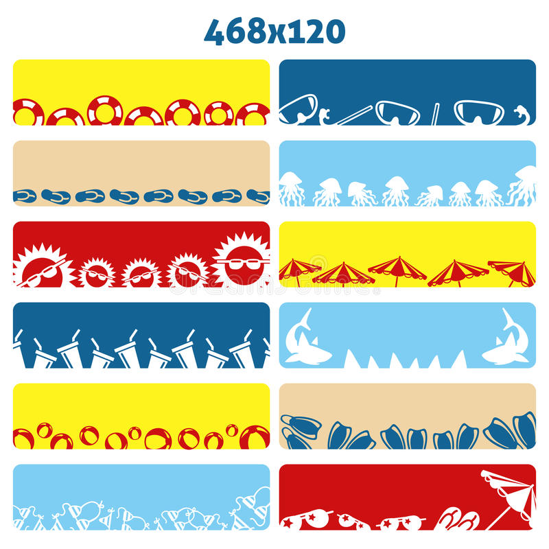 Summer flat web banners. Collection with summer accessories, Vector illustration royalty free illustration