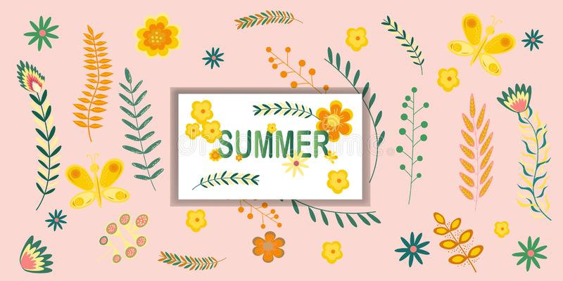Summer floral banner pattern with the inscription Summer Flowers and branches in pastel colors. Vector illustration.  stock illustration
