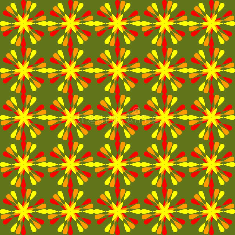 Summer floral patterns, cheerful floral ornament in red and orange on live green background. Seamless background in royalty free illustration