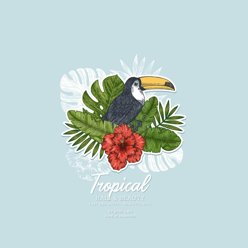 Summer floral retro design template. Toucan vintage composition. Vector illustration vector illustration