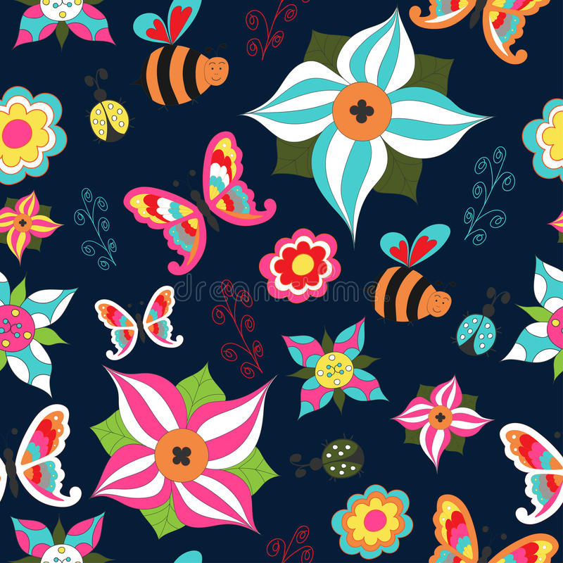 Summer floral seamless with butterfly, bee, ladybird and bush on a blue background vector illustration