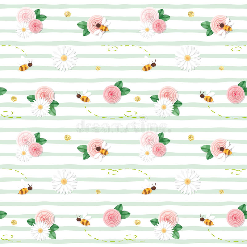 Summer floral seamless pattern. Roses, chamomiles, flying bees on stripped green background. vector illustration