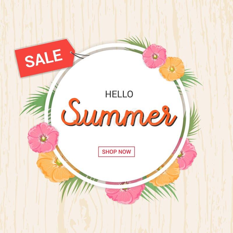 Summer Flowers frame or Summer floral Design on wooden background vector illustration