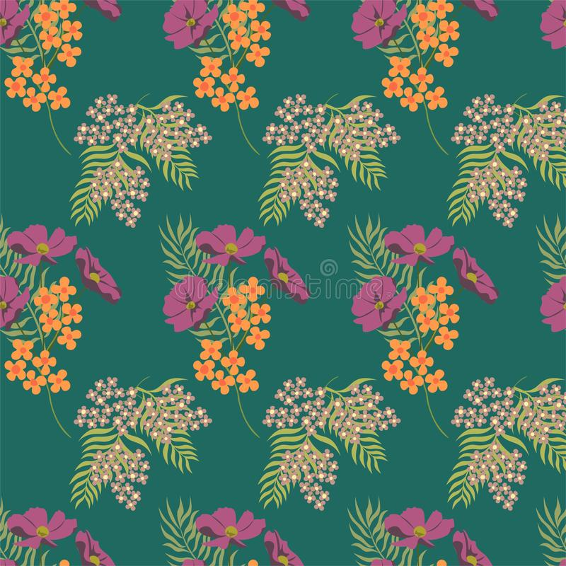 Summer flowers pattern. Thin line elements. Seamless vector floral green background. Seamless vector green floral pattern. Seamles stock illustration