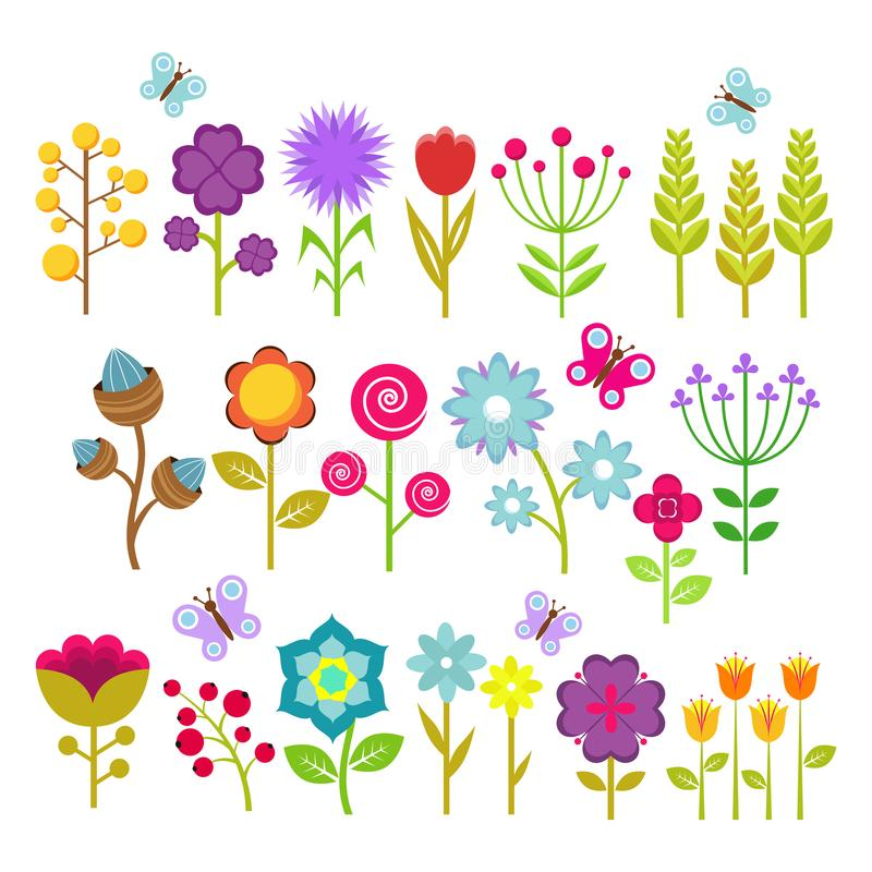 Summer flowers vector collection. Cute floral elements for retro 70s design royalty free illustration