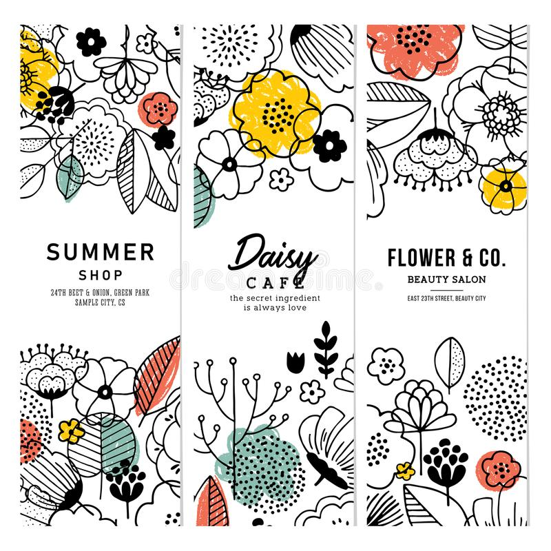 Summer flowers vertical banner collection. Linear graphic. Floral backgrounds. Scandinavian style. Vector illustration royalty free illustration