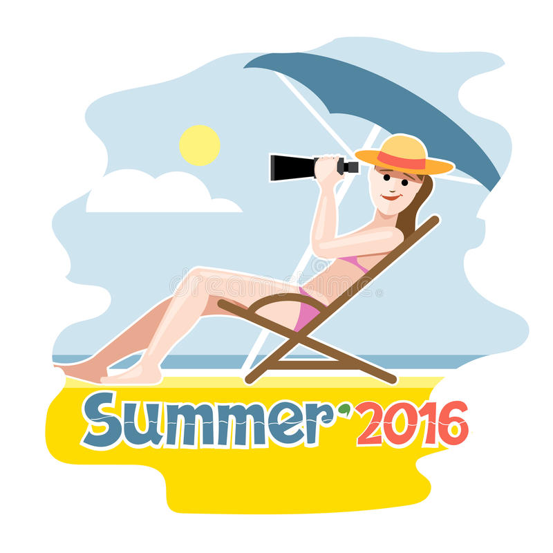 Summer 2016 flyer. With a girl lying on a beach chair with hat vector illustration