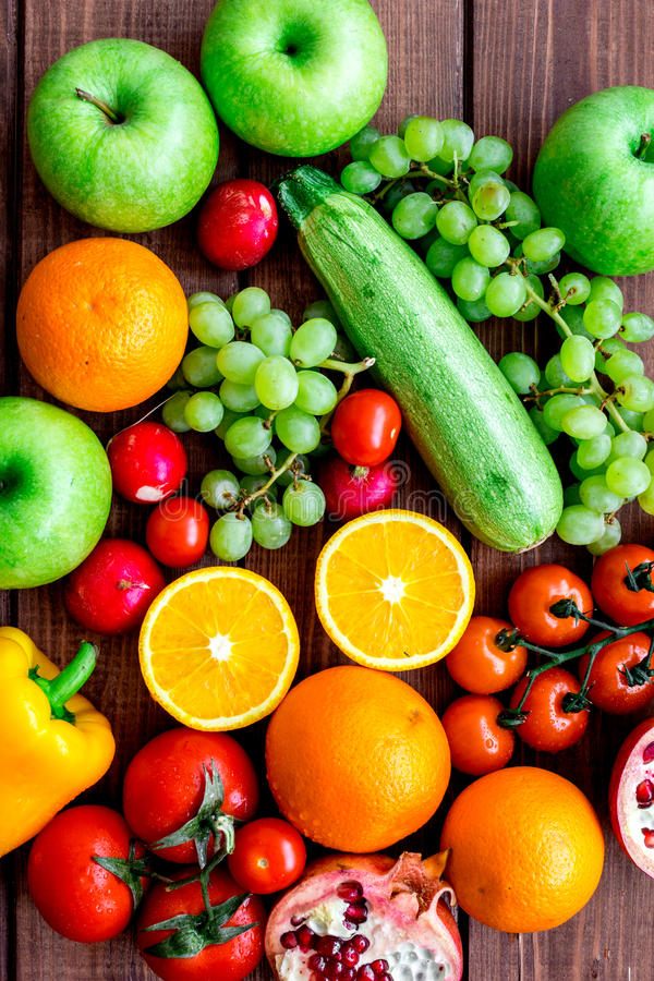 Summer food with fresh fruits and vegetables top view royalty free stock image