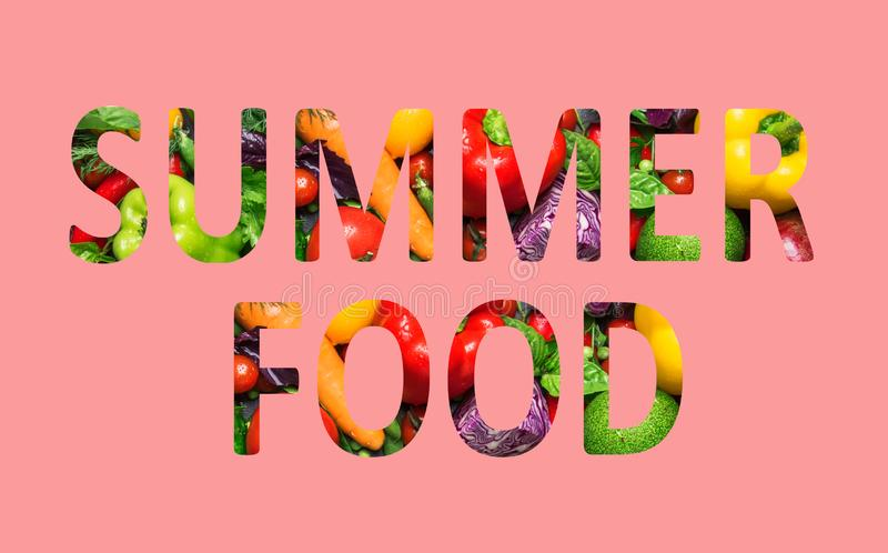 Summer food, multi-colored text cut out of vegetables photo, the inscription on pink background. Summer food, multi-colored text cut out of vegetables photo, the vector illustration