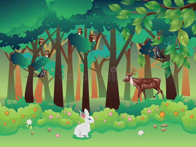 Summer Forest and Animals vector illustration