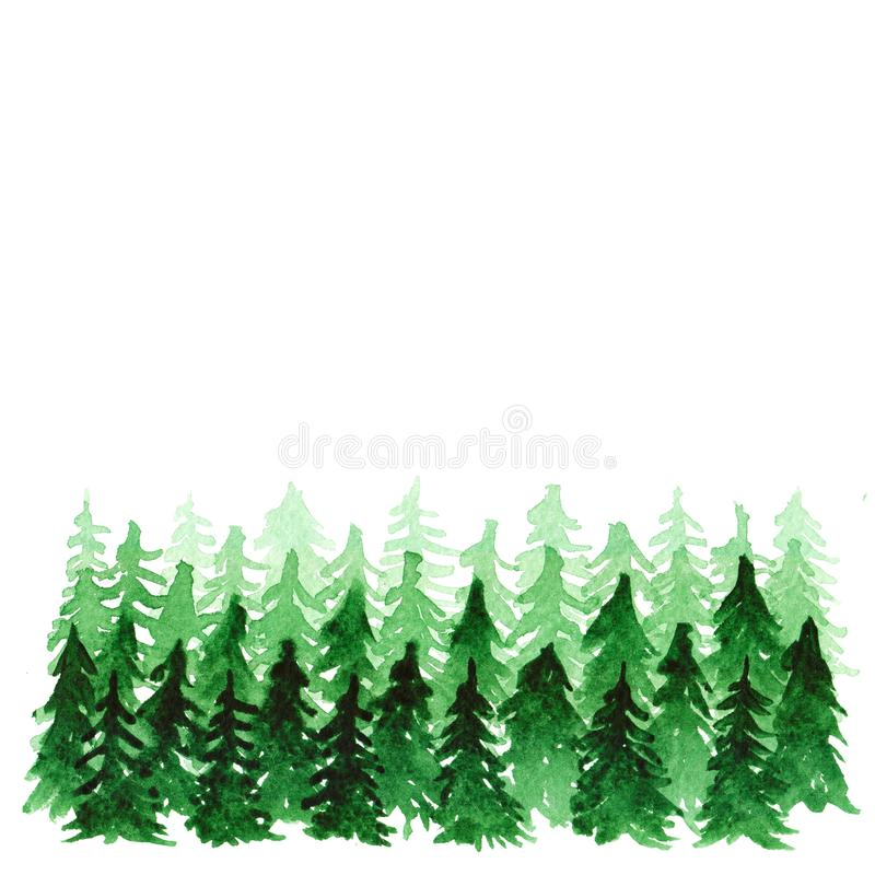Summer forest background watercolor. Watercolor landscape with fir trees, abstract nature background, forest template, hand drawn illustration stock illustration