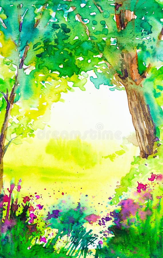 Summer forest landscape with trees, plants and flowers. Watercolor  illustration royalty free illustration
