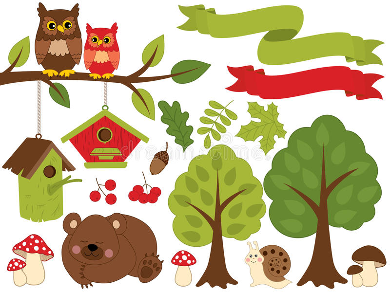 Summer Forest Set with Bear, Owls, Birdhouses, Trees, Mushrooms. Forest Set Clipart. Vector Illustration. Vector summer forest set with sleeping bear, owls stock illustration