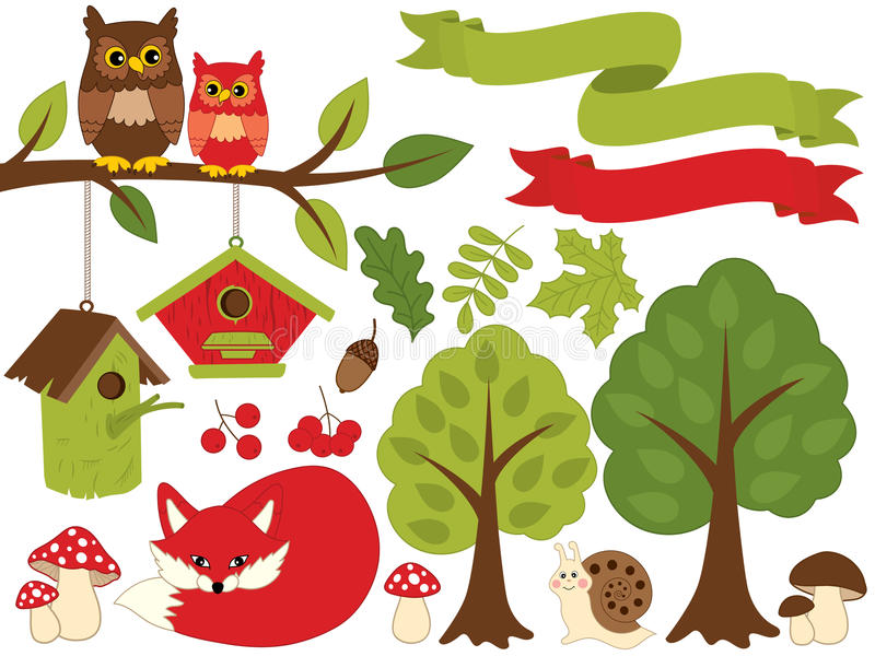 Summer Forest Set with Red Fox, Owls, Birdhouses, Trees, Mushrooms. Forest Set Clipart. Vector Illustration. Vector summer forest set with sleeping red fox, owls stock illustration