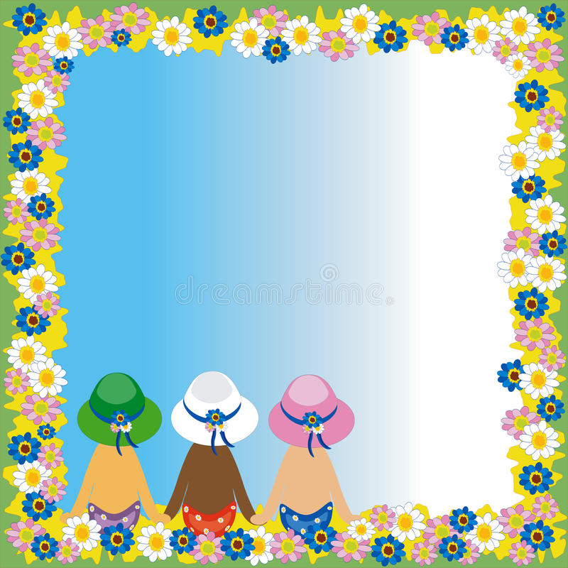 Summer frame. With girls , flowers, at the sky background stock illustration