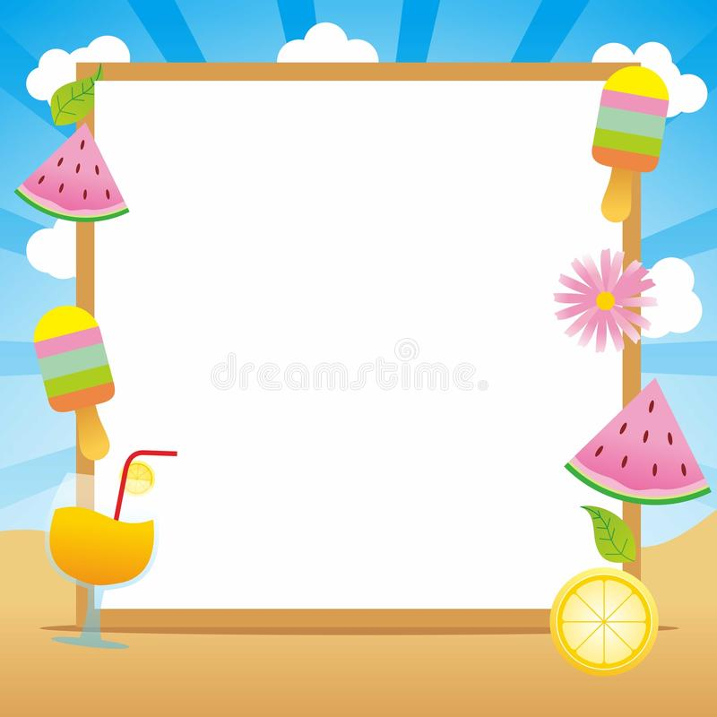 Summer Frame Backgound with Tropical Fruit and Ice Cream stock illustration