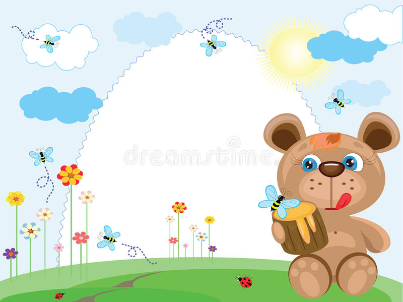 Summer frame with bear royalty free illustration
