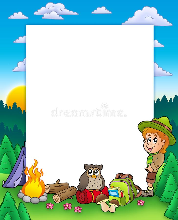 Summer frame with boy scout