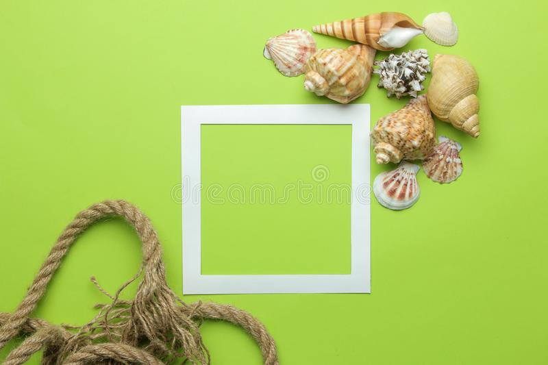 Summer frame. Paper frame for your text and seashells on a bright green background. top view. Summer frame. Paper frame for your text and seashells on a bright royalty free stock images