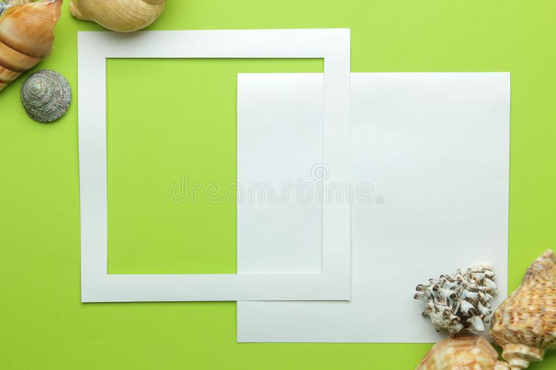 Summer frame. Paper frame for your text and seashells on a bright green background. top view royalty free stock photo