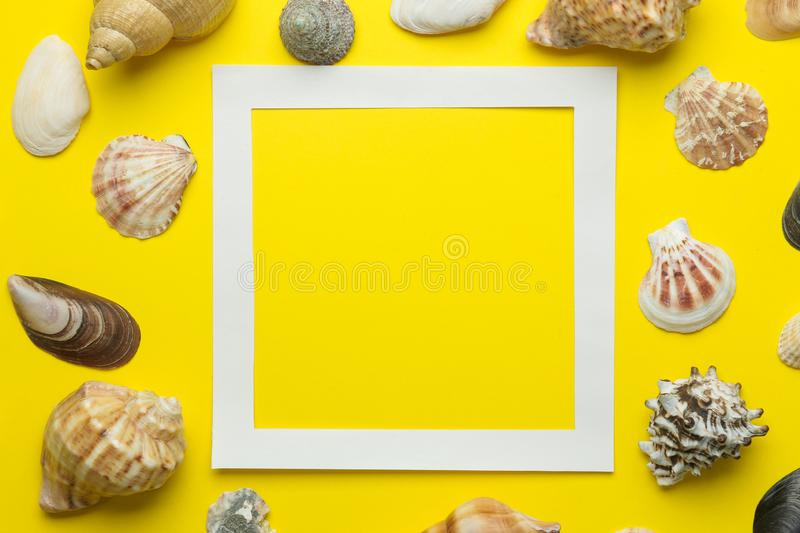 Summer frame. Paper frame for your text and seashells on a bright yellow background. top view royalty free stock images