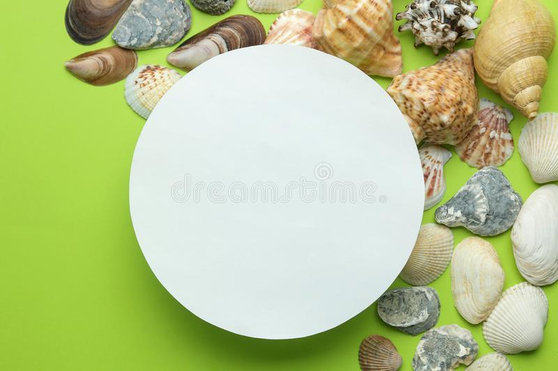 Summer frame. Paper frame for your text and seashells on a bright green background. top view stock image
