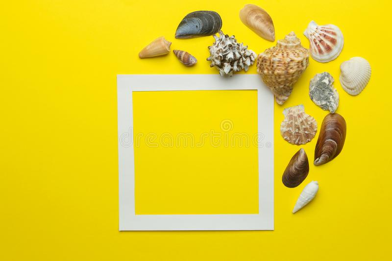 Summer frame. Paper frame for your text and seashells on a bright yellow background. top view stock photos