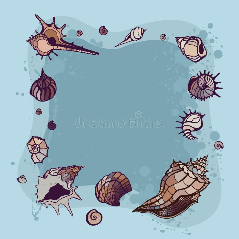 Download Summer Frame of seashells. stock illustration. Illustration of sand - 39503341