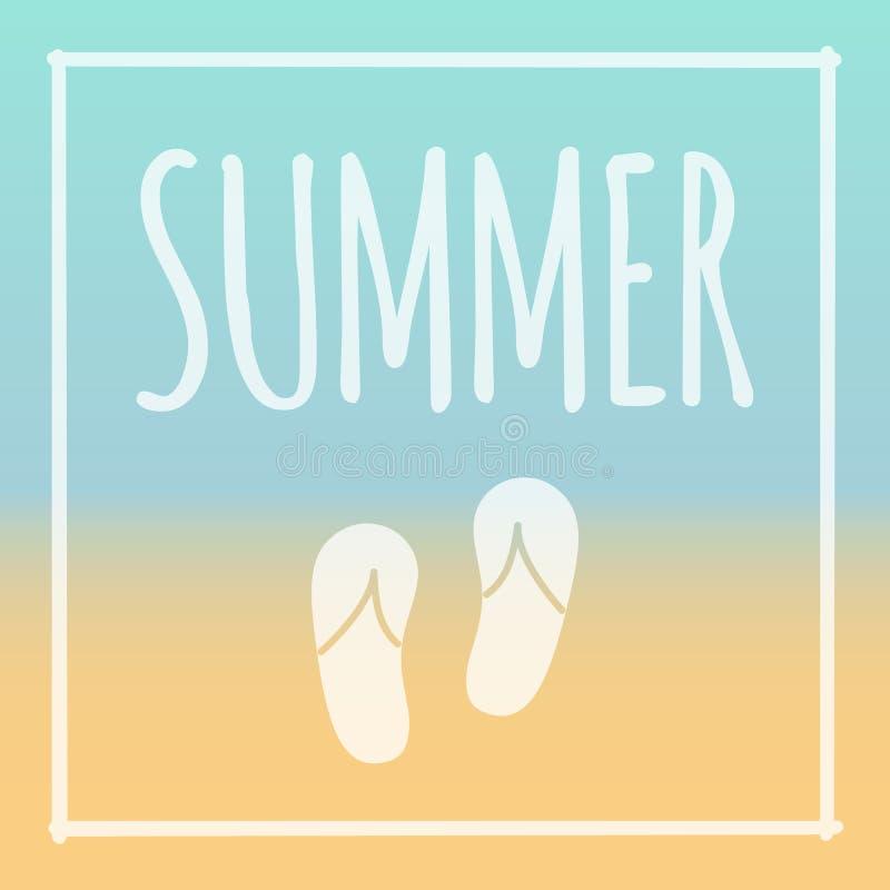Summer Frame Vector, Sunny Beach With Flip Flops Stock Vector ...