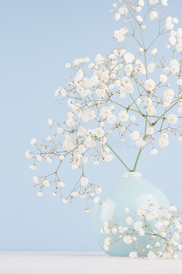 Summer fresh background with airy flowers in vase in light blue pastel color interior, vertical. Summer fresh background with airy flowers in vase in light blue stock photography