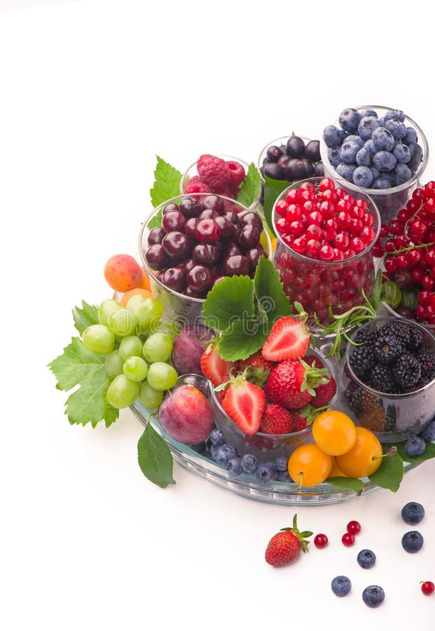 Free Summer Fresh Berries Of Different Types On A White Background Stock Photos - 160435403
